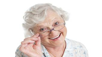 older woman glasses on